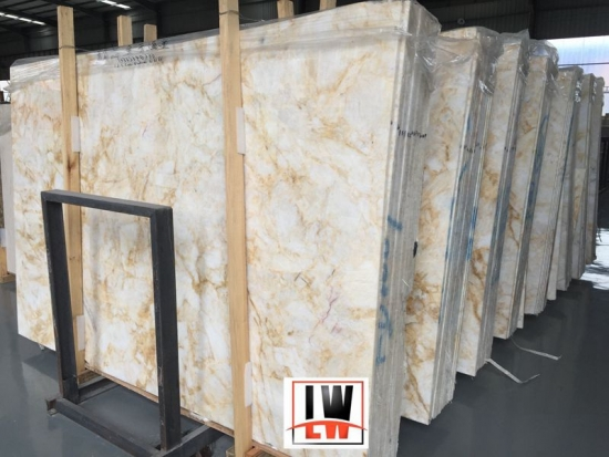 China Gloden Onyx polished marble slab